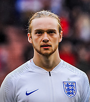 Everton's midfielder Tom Davies (4) for England U21's during the International Euro U21 Qualification match between England U21 and Ukraine U21 at Bramall Lane, Sheffield, England on 27 March 2018. Photo by Stephen Buckley / PRiME Media Images.