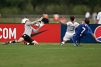 USA goalkeeper Cody Cropper (18) makes a save on Riley Wolfe (7) of the Academy Select Team. The US U-17 Men's National Team defeated the Development Academy Select Team 3-1 during day one of the US Soccer Development Academy  Spring Showcase in Sarasota, FL, on May 22, 2009.