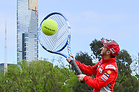 October 24, 2018: MotoGP rider Andrea Dovizioso poses for photographs after playing tennis at Melbourne Park before the 2018 MotoGP of Australia to be held at Phillip Island Grand Prix Circuit, Victoria, Australia. Photo Sydney Low