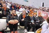 OLYMPICS: SOCHI: Adler Arena, 16-02-2014, Ladies' 1500m, Sjinkie Knegt, Sanne van Kerkhof, Rianne de Vries, Yara van Kerkhof en Daan Breeuwsma op de tribune, ©photo Martin de Jong