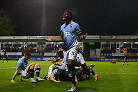 Blackpool's Armand Gnanduillet celebrates with team mates after their sides third goal to win the tie<br /> <br /> Photographer Craig Mercer/CameraSport<br /> <br /> The EFL Sky Bet League Two Play-Off Semi Final Second Leg - Luton Town v Blackpool - Thursday 18th May 2017 - Kenilworth Road - Luton<br /> <br /> World Copyright &copy; 2017 CameraSport. All rights reserved. 43 Linden Ave. Countesthorpe. Leicester. England. LE8 5PG - Tel: +44 (0) 116 277 4147 - admin@camerasport.com - www.camerasport.com