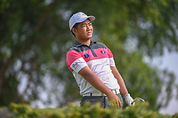 Thammalack BOUAHOM (LAO) watches his tee shot on 4 during Rd 1 of the Asia-Pacific Amateur Championship, Sentosa Golf Club, Singapore. 10/4/2018.<br /> Picture: Golffile | Ken Murray<br /> <br /> <br /> All photo usage must carry mandatory copyright credit (&copy; Golffile | Ken Murray)