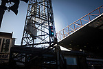 The mysterious traffic lights on the floodlight pylon pictured during the first-half as Bradford City played Carlisle United in a Skybet League 2 fixture at Valley Parade. The home team were looking to bounce back after being relegated during a disastrous 2018-19 season on and off the pitch. Bradford won the match 3-1, watched by a crowd of 14, 217.