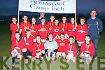 COMMUNITY GAMES: Taking part for the first time in the Soccer Community Games is the Annascaul/Camp/Inch team who came third in competition at St Brendan's Park grounds on Friday. Pictured Hughie O'Brien, Micheal Moran, Aidan Cox, Alan Falvey, Jack O'Connor, Jerry Foley, Padraig Moriarty, Jack Cox, Brian Kennedy, Rian O'Sullivan, Peter McGovern, Max Kennedy, Timmy Smith, Sean Brosnan, Conor Counihan, Eoin Curry, Lol O'Leary, (Manager) and Tim Falvey, (Coach).   Copyright Kerry's Eye 2008