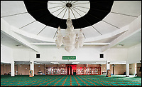 BNPS.co.uk (01202 558833)<br /> Pic: HistoricEngland/BNPS<br /> <br /> Huge prayer hall of the Birmingham Central Mosque.<br /> <br /> A new book from Historic England reveals the spread of Mosque building across Britain.<br /> <br /> The book provide a fascinating insight into the diversity of Britain's 1,500 mosques.<br /> <br /> They range from humble house conversions where small groups gather to magnificent purpose-built complexes which can accommodate thousands of worshippers.<br /> <br /> Architect Shahed Saleem, who has designed a mosque in Hackney, east London, has produced the first comprehensive overview of Islamic architecture on these shores in his new book, The British Mosque.