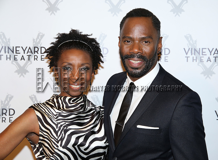 Sharon Washington and Colman Domingo attends the cocktail party for the Vineyard Theatre 2016 Gala at the Edison Ballroom on March 14, 2016 in New York City.