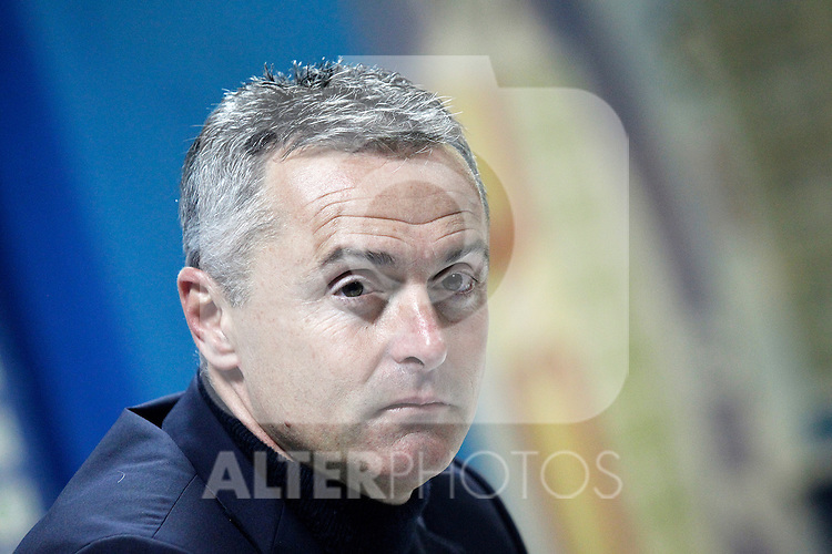 Getafe's coach Fran Escriba in press conference after La Liga match. March 18,2016. (ALTERPHOTOS/Acero)