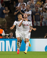 Toby Alderweireld of Tottenham Hotspur celebrates pulling a goal back during the UEFA Champions League Group stage match between Tottenham Hotspur and Monaco at White Hart Lane, London, England on 14 September 2016. Photo by Andy Rowland.