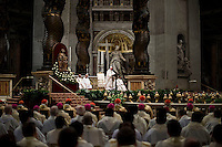 Vatican City, March 24, 2016. Papa Francesco durante la celebrazione della Messa Crismale nella Basilica di San Pietro. Pope Francis celebrates a Chrism Mass in St. Peter's Basilica at the Vatican.