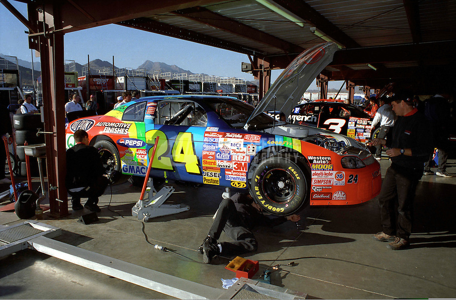 Nov. 1, 1997; Avondale, AZ, USA; The car of NASCAR Winston Cup Series driver Jeff Gordon in the garage during the Dura Lube 500 at Phoenix International Raceway. Mandatory Credit: Mark J. Rebilas-