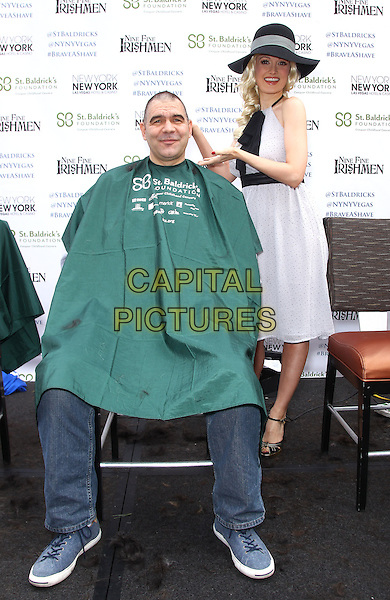 01 March 2014 - Las Vegas, NV -  John Katsilometes, Holly Madison. Holly Madison serves as a  a celebrity shaver at the St. Baldrick's Fundraiser to benefit Childhood Cancer Research at New York-New York Hotel and Casino. <br /> CAP/ADM/MJT<br /> &copy; MJT/AdMedia/Capital Pictures