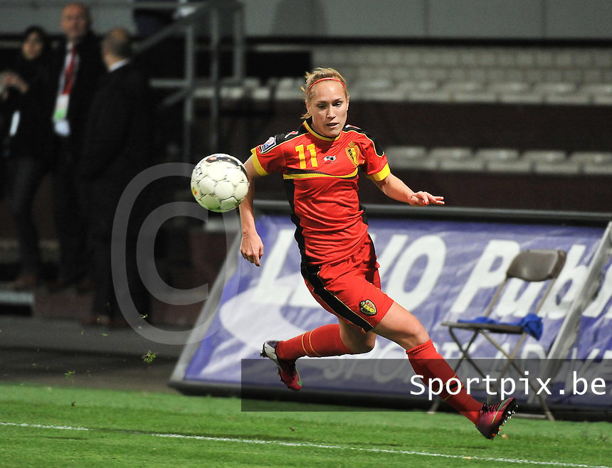 20131031 - ANTWERPEN , BELGIUM : Belgian Janice Cayman pictured during the female soccer match between Belgium and Portugal , on the fourth matchday in group 5 of the UEFA qualifying round to the FIFA Women World Cup in Canada 2015 at Het Kiel stadium , Antwerp . Thursday 31st October 2013. PHOTO DAVID CATRY