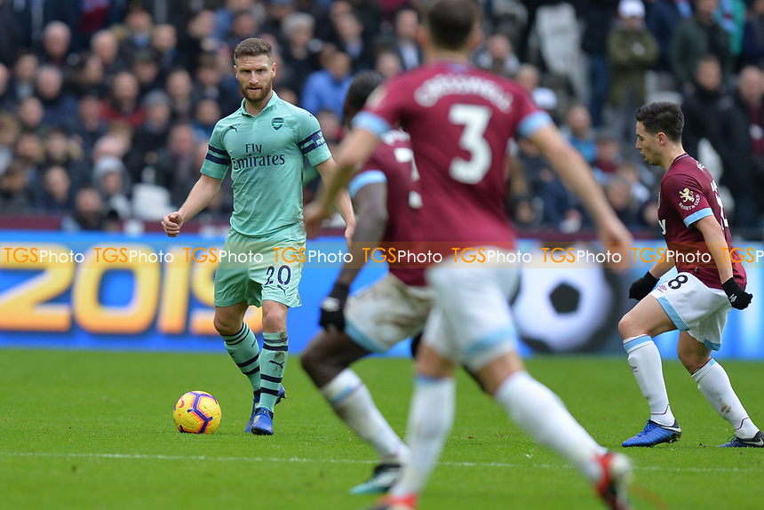 Shkodran Mustafi of Arsenal during West Ham United vs Arsenal, Premier League Football at The London Stadium on 12th January 2019