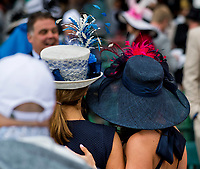 LOUISVILLE, KY - MAY 05: Two women wear fancy hats  on Kentucky Oaks Day at Churchill Downs on May 5, 2017 in Louisville, Kentucky. (Photo by Douglas DeFelice/Eclipse Sportswire/Getty Images)