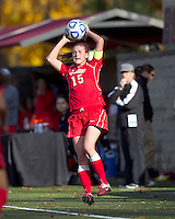 Marist College defender Chelsea Botta (15) sets up for throw in. Boston College defeated Marist College, 6-1, in NCAA tournament play at Newton Campus Field, November 13, 2011.