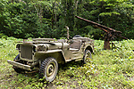 Munda, Western Province, Solomon Islands; a 1942 Jeep Willy parked on one of the original jungle roads used by US troops during World War II with Japanes anti-aircraft guns in the background, it is the only known restored and functioning Jeep from that era in the Solomon Islands