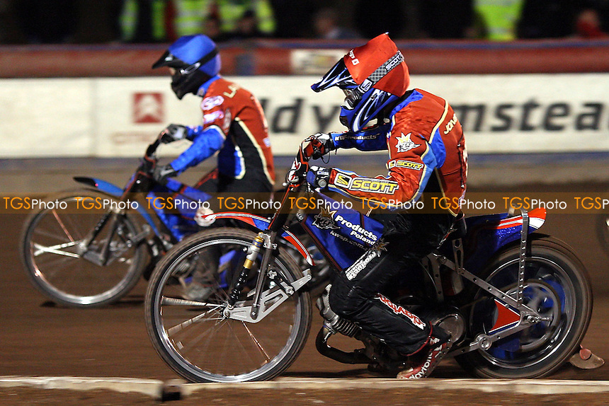 Heat 6: Andreas Jonsson (red) and Leigh Lanham on their way to a 5-1 - Lakeside Hammers vs Peterborough Panthers - Craven Shield Speedway at Arena Essex - 28/03/08 - MANDATORY CREDIT: Gavin Ellis/TGSPHOTO. Self-Billing applies where appropriate. NO UNPAID USE. Tel: 0845 094 6026