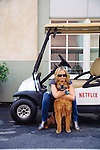 LOS ANGELES - April 14:  Comedian, actress, writer, television host, and producer Chelsea Handler poses for an iPhone photos with her dog Chunk outside her office on the Sony Pictures Studios lot in Culver City, California on Thursday, April 14, 2016. (Photo by Brinson+Banks)