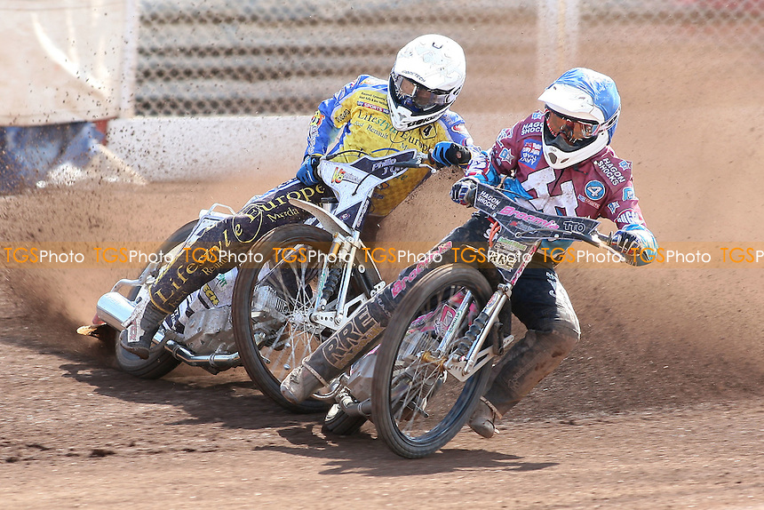 Heat 5: Rob Mear (blue) and Cameron Woodward - Lakeside Hammers vs Eastbourne Eagles - Sky Sports Elite League Speedway at Arena Essex Raceway, Purfleet - 06/04/12 - MANDATORY CREDIT: Gavin Ellis/TGSPHOTO - Self billing applies where appropriate - 0845 094 6026 - contact@tgsphoto.co.uk - NO UNPAID USE.
