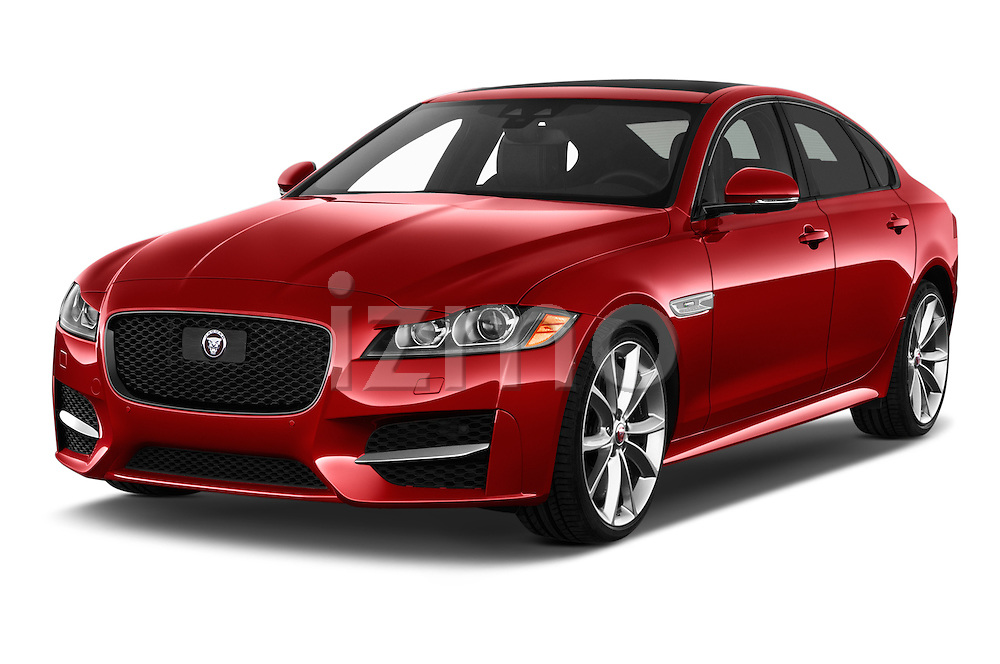 2017 Jaguar XF 35t-R-Sport 4 Door Sedan Angular Front stock photos of front three quarter view