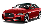 2018 Jaguar XF 35t-R-Sport 4 Door Sedan Angular Front stock photos of front three quarter view