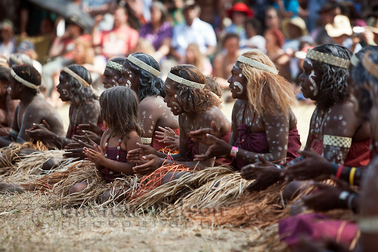 Women from the Lockhart River dance troupe at the Laura Aboriginal Dance Festival.  Laura, Queensland, Australia