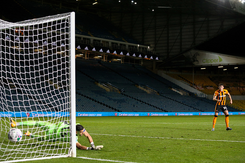 Hull City's Callum Jones blasts home a penalty<br /> <br /> Photographer Alex Dodd/CameraSport<br /> <br /> Carabao Cup Second Round Northern Section - Leeds United v Hull City -  Wednesday 16th September 2020 - Elland Road - Leeds<br />  <br /> World Copyright © 2020 CameraSport. All rights reserved. 43 Linden Ave. Countesthorpe. Leicester. England. LE8 5PG - Tel: +44 (0) 116 277 4147 - admin@camerasport.com - www.camerasport.com