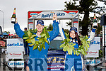 Fastest<br /> ----------<br /> Shane McCarthy from Kenmare celebrates with his navigator Trisha Greavy, at the finish ramp outside the GlenEagle hotel, Killarney last Sunday evening after they won the Junior category of the rally,by well over 2 minutes from the other 36 juniors who competed.