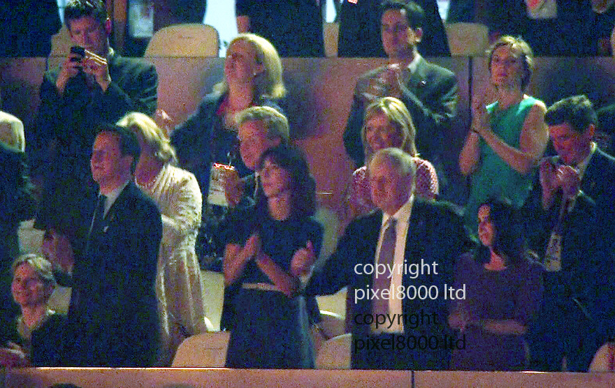 Olympics 2012 - BBC Coverage.Closing ceremony.Boris Johnson dancing embarrassingly to the Spice Girls with David Cameron Sam Cam and Ed Miliband behind them.......Picture by Pixel8000 07917221968