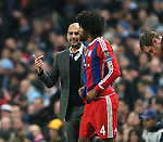 Josep Guardiola manager of Bayern Munich sends on Dante of Bayern Munich as a substitute following his teams red card - UEFA Champions League group E - Manchester City vs Bayern Munich - Etihad Stadium - Manchester - England - 25rd November 2014  - Picture Simon Bellis/Sportimage