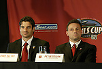 12 November 2004: DC United player captain Ryan Nelsen (left) and head coach Peter Nowak (right). Major League Soccer held their annual pre-MLS Cup press conference at the Home Depot Center in Carson, CA two days before the Kansas City Wizards were scheduled to play DC United in the league's annual championship game..