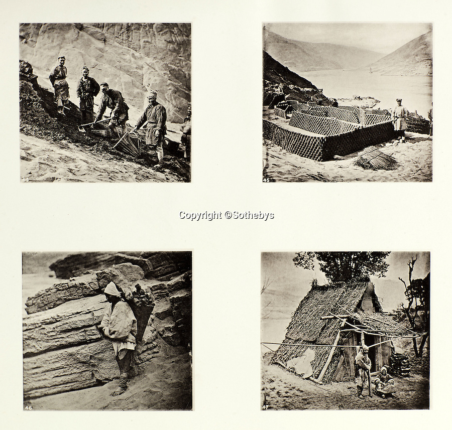 BNPS.co.uk (01202 558833)<br /> Pic: Sothebys/BNPS<br /> <br /> Labourer's making clay bricks.<br /> <br /> Rare early photographs revealing what life in China looked like for the first time to the 19th century public have emerged 140 years after they were taken. <br /> <br /> The stunning collection - comprising 200 black and white photographs of Far East landscapes and wide-ranging personal portraits of everybody from rural peasants to senior government officials - was the first volume of photos from the region to ever be included in a travel book. <br /> <br /> Produced at a time when camera technology was still in its infancy, they were taken by celebrated Scottish photographer John Thomson between 1873 and 1874 during a 4,000-mile expedition across the country. <br /> <br /> And now one of the last remaining copies of the album still known to exist is set to go under the hammer at Sotheby's in London on November 7 with an estimate of £35,000.