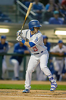 Rancho Cucamonga Quakes catcher Connor Wong (33) at bat against the Inland Empire 66ers at LoanMart Field on April 12, 2018 in Rancho Cucamonga, California. The 66ers defeated the Quakes 5-4.  (Donn Parris/Four Seam Images)