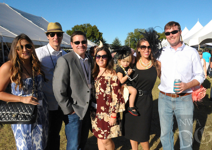 NWA Democrat-Gazette/JOCELYN MURPHY<br /> Alexandria (from left) and Joe Ferguson, Levon and Courtney Ogden, and Courtney, holding Lawson, and Hunter Norton gather at the 27th annual Polo in the Ozarks, hosted at the Buell Farm in Fayetteville on Saturday, Sept. 10, 2016.
