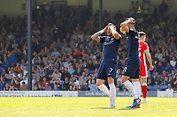Michael Kightly of Southend United has his head in his hands during the Sky Bet League 1 match between Southend United and MK Dons at Roots Hall, Southend, England on 21 April 2018. Photo by Carlton Myrie.