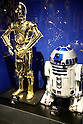 (L to R) A life size statues of the characters C-3PO and R2-D2 on display at the entrance of the exhibition Star Wars Vision at the Tokyo City View Sky Gallery in Roppongi Hills on April 28, 2015, Tokyo, Japan. The exhibition is divided into six themed areas (Original, Force, Battle, Saga, Galaxy and Droid) located in different halls, and visitors can see models of the battle spaceships, life-size statues of the principal characters and Jedi weapons from the movies. The exhibition also introduces 60 art pieces and 100 movie props. It will open to the public from April 29th to June 28th. (Photo by Lucasfilm/Rodrigo Reyes Marin/AFLO)