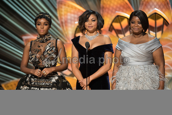 26 February 2017 - Hollywood, California - Janelle Monae, Taraji P. Henson, and Octavia Spencer. 89th Annual Academy Awards presented by the Academy of Motion Picture Arts and Sciences held at Hollywood & Highland Center. Photo Credit: AMPAS/AdMedia