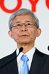 May 8, 2015, Tokyo, Japan - Nobuyori Kodaira, executive vice president of Japan's Toyota Motor Corp., speaks during a news conference at its head office in Tokyo on Friday, May 8, 2015. The world's top-selling automaker forecasts operating profit will edge up 1.8 percent this year to 2.80 trillion yen. (Photo by Yohei Osada/AFLO)