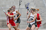 San Diego, CA 05/21/11 - Kaitlyn Couture (Coronado #18), Rachel Larkin (Cathedral Catholic #33) and Chandler Ramsey (Cathedral Catholic #14) in action during the 2011 CIF San Diego Division 2 Girls lacrosse finals between Cathedral Catholic and Coronado.