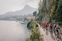 peloton next to Lake Como<br /> <br /> 112th Il Lombardia 2018 (ITA)<br /> from Bergamo to Como: 241km