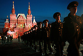 Russian soldiers march on the Red Square after guarding it during the Russia Day celebrations.