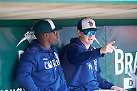 Fort Wayne TinCaps Blake Hunt (12) and Lee Solomon (4) before a Midwest League game against the Kane County Cougars at Parkview Field on May 1, 2019 in Fort Wayne, Indiana. Fort Wayne defeated Kane County 10-4. (Zachary Lucy/Four Seam Images)