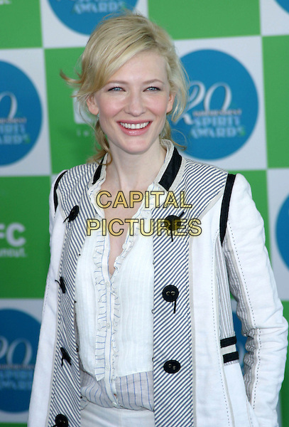 CATE BLANCHETT.20th Annual IFP Independent Spirit Awards held on Santa Monica Beach. .February 26th, 2005.Photo credit: Jacqui Wong/AdMedia.half lenggth black and white buttons.www.capitalpictures.com.sales@capitalpictures.com.© Capital Pictures.