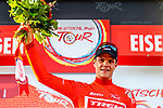 Jasper Stuyven (BEL) Trek-Segafredo takes over the race leaders Red Jersey at the end of Stage 3 of the Deutschland Tour 2019, running 189km from Gottingen to Eisenach, Germany. 31st August 2019.<br /> Picture: ASO/Henning Angerer | Cyclefile<br /> All photos usage must carry mandatory copyright credit (© Cyclefile | ASO/Henning Angerer)