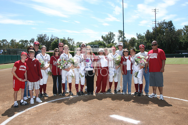 27 April 2008: Stanford Cardinal (L-R) Erin Howe, Anna Beardman, Becky McCullough, Michelle Smith, and Tricia Aggabao during Stanford's 4-1 loss against the UCLA Bruins at the Boyd and Jill Smith Family Stadium in Stanford, CA.