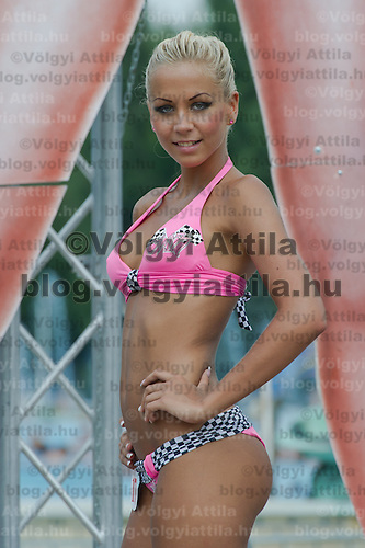 Szilvia Kalman attends the Miss Bikini Hungary beauty contest held in Budapest, Hungary on August 06, 2011. ATTILA VOLGYI