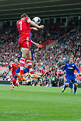 12.04.2014  Southampton, England. Rickie Lambert heads towards goal during the Premier League game between Southampton and Cardiff City from St Mary's Stadium