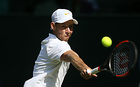Dudi Sela (ISR) during his match against Rafael Nadal (ESP)<br /> <br /> Photographer Rob Newell/CameraSport<br /> <br /> Wimbledon Lawn Tennis Championships - Day 2 - Tuesday 3rd July 2018 -  All England Lawn Tennis and Croquet Club - Wimbledon - London - England<br /> <br /> World Copyright &not;&uml;&not;&copy; 2017 CameraSport. All rights reserved. 43 Linden Ave. Countesthorpe. Leicester. England. LE8 5PG - Tel: +44 (0) 116 277 4147 - admin@camerasport.com - www.camerasport.com