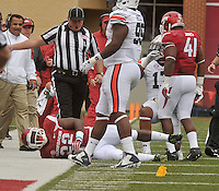 NWA Democrat-Gazette/MICHAEL WOODS • @NWAMICHAELW<br /> University of Arkansas running back Rawleigh Williams III goes down injured after being tackled by Auburn defender Kris Frost in the 3rd quarter of the Razorbacks 54-46 win over Auburn during Saturdays game at Razorback Stadium in Fayetteville.
