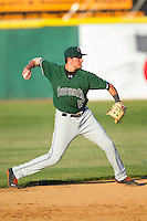 Augusta GreenJackets shortstop Ryder Jones (15) makes a throw to first base against the Hickory Crawdads at L.P. Frans Stadium on May 11, 2014 in Hickory, North Carolina.  The GreenJackets defeated the Crawdads 9-4.  (Brian Westerholt/Four Seam Images)